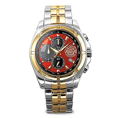 """Photo of """"For My Firefighter"""" Men's Chronograph Watch by The Bradford Exchange Online"""