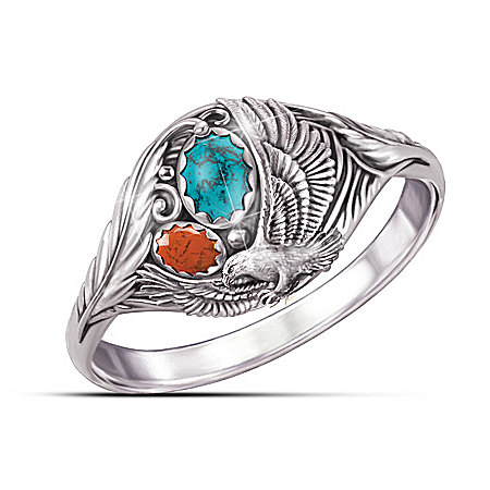 Photo of Spirit Of The Eagle Turquoise And Jasper Silver Ring by The Bradford Exchange Online
