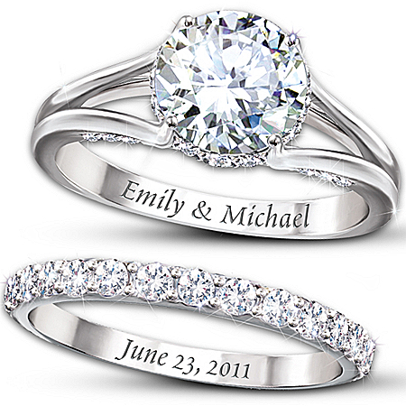 Photo of Diamonesk Personalized Engagement Ring And Wedding Band Set by The Bradford Exchange Online