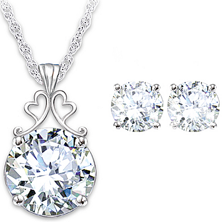Photo of Diamonesk Bridal Earrings And Personalized Pendant Set by The Bradford Exchange Online