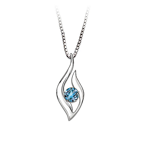 Photo of Reach For The Stars Blue Topaz Pendant Necklace by The Bradford Exchange Online