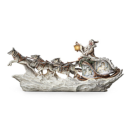 Photo of Wolf Art Illuminated Christmas Decor Sculpture: Santa's White Wolf Sleigh by The Bradford Exchange Online