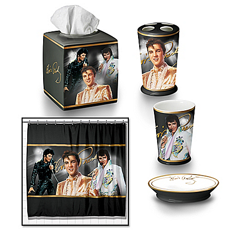Photo of Bath Accessories: The Elvis Presley Bath Ensemble Accessories Set by The Bradford Exchange Online