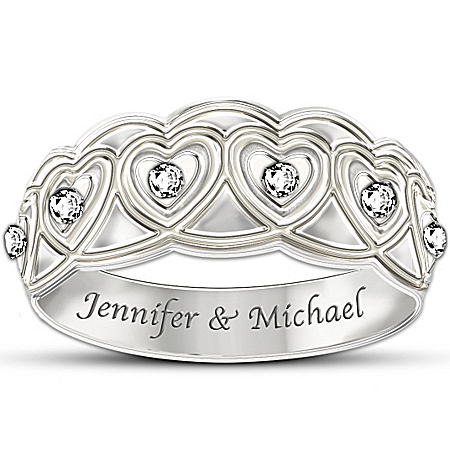 Photo of Personalized Diamond Eternity Ring: Hearts Full Of Diamonds by The Bradford Exchange Online