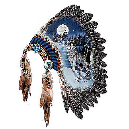Photo of Replica Warrior Headdress With Wolf Art Wall Decor: Moonlit Majesty by The Bradford Exchange Online