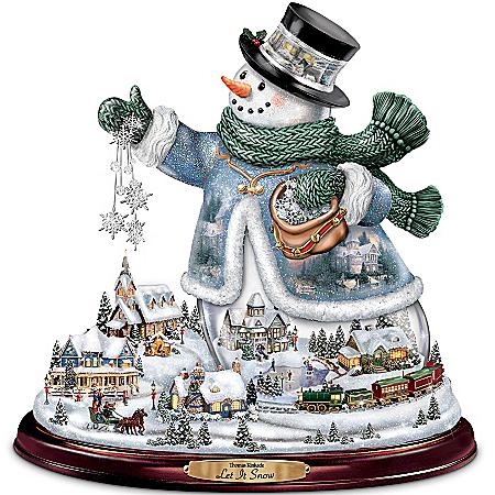Photo of Thomas Kinkade Snowman Tabletop Centerpiece: Let It Snow by The Bradford Exchange Online