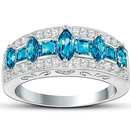 Photo of Blue Rhapsody Topaz And Diamond Ring by The Bradford Exchange Online