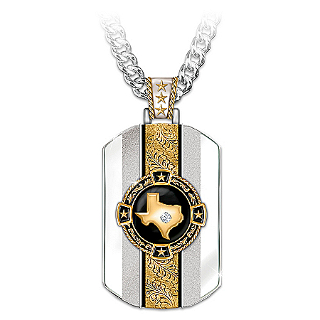 Photo of Texas Pride 24K Gold-Plated Pendant Necklace by The Bradford Exchange Online