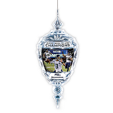 Photo of Ornament: Commemorative Seattle Seahawks Super Bowl XLVIII Crystal Ornament by The Bradford Exchange Online