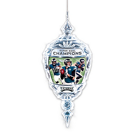 Photo of Philadelphia Eagles Super Bowl LII NFL Commemorative Crystal Christmas Ornament by The Bradford Exchange Online