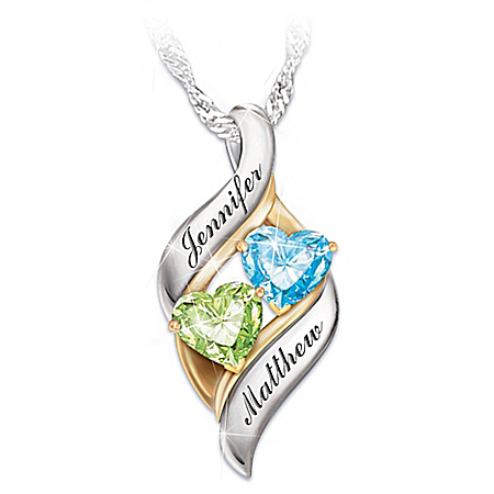 Photo of Romantic Personalized Birthstone Pendant Necklace: Loving Embrace by The Bradford Exchange Online