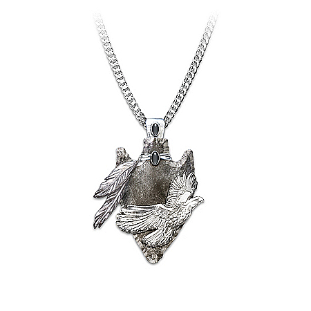 Photo of Eagle Arrowhead Pendant Necklace: Sacred Guardian by The Bradford Exchange Online