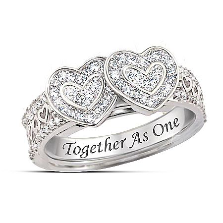 Photo of Together As One Personalized White Topaz Ring by The Bradford Exchange Online