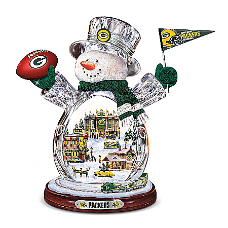 Photo of Green Bay Packers Masterpiece Edition Crystal Snowman Figurine by The Bradford Exchange Online