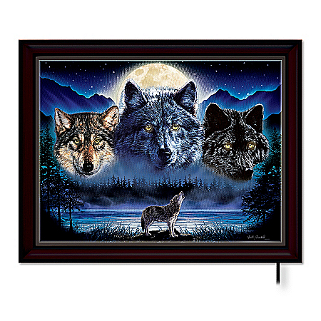 Photo of Wolf Art Illuminated Wall Decor: Eyes Of The Night by The Bradford Exchange Online