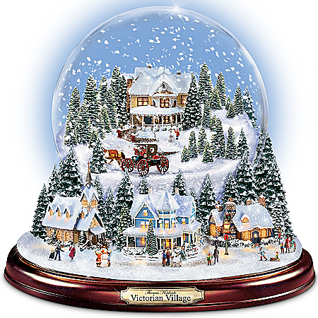 Thomas Kinkade Holiday Village Illuminated Musical Snowglobe