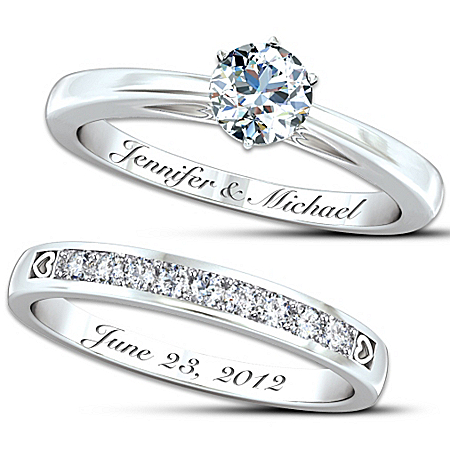 Photo of Personalized Women's Diamond Bridal Ring Set: Our Forever Love by The Bradford Exchange Online