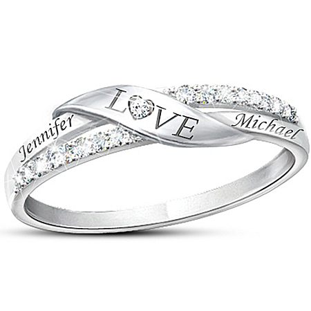 Photo of Love Personalized Name Engraved Diamond Ring by The Bradford Exchange Online