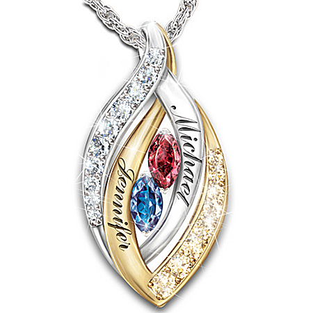 Photo of Personalized Name-Engraved Pendant Necklace: Together In Love by The Bradford Exchange Online