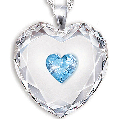 Photo of Crystal Heart Pendant Necklace For Daughter: Always In My Heart by The Bradford Exchange Online