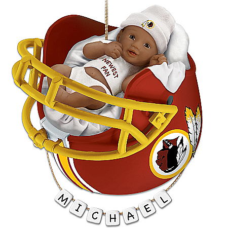 Photo of NFL Washington Redskins Personalized African-American Baby Christmas Ornament by The Bradford Exchange Online