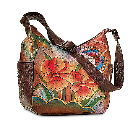 Photo of Orchid Sunset Hand-Painted Leather Purse by The Bradford Exchange Online
