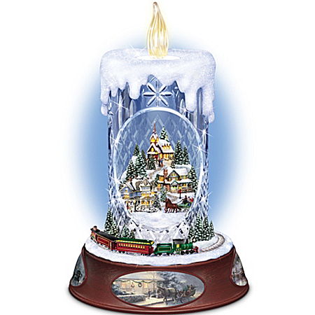 Photo of Thomas Kinkade Musical Tabletop Centerpiece Crystal Candle: Making Spirits Bright by The Bradford Exchange Online
