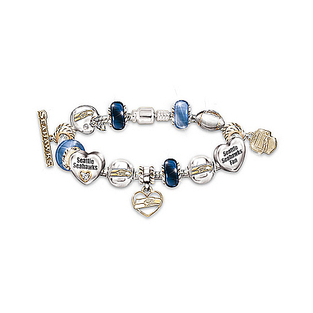 Photo of NFL Seattle Seahawks #1 Fan Charm Bracelet: Go Seahawks! by The Bradford Exchange Online
