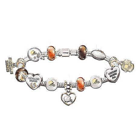 Photo of Cleveland Browns #1 Fan Charm Bracelet: Go Browns! by The Bradford Exchange Online