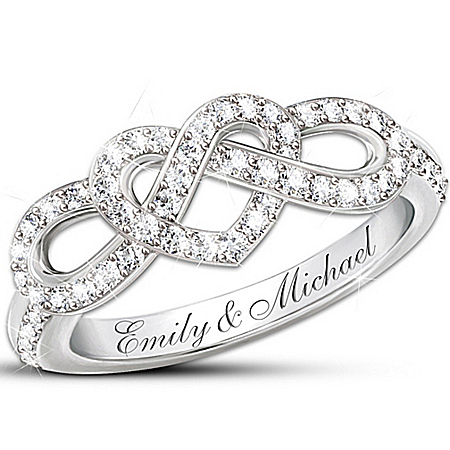 Photo of Personalized Engraved Lover's Knot Diamond Ring: Joined In Love by The Bradford Exchange Online