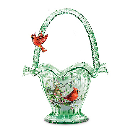 Photo of Cardinal Serenade Hand-Blown Art Glass Bowl by The Bradford Exchange Online