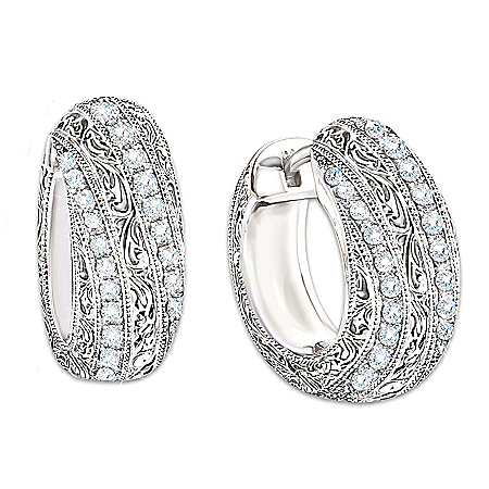 Photo of Sterling Silver Diamond Elegance Diamond Hoop Earrings For Women by The Bradford Exchange Online