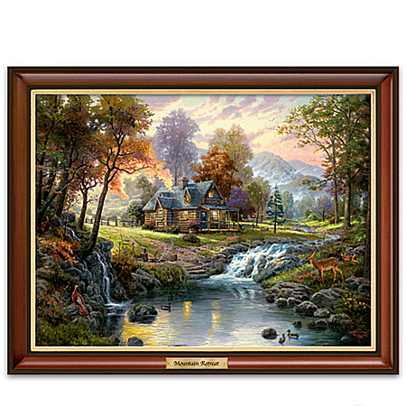 Image of Lighted Thomas Kinkade Mountain Retreat Canvas Print Framed Art
