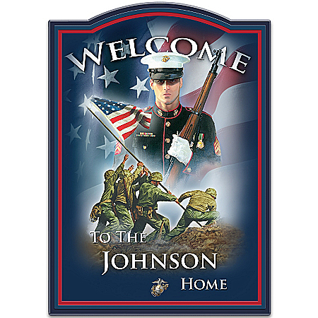 Photo of USMC Personalized Welcome Sign: Hero's Welcome by The Bradford Exchange Online