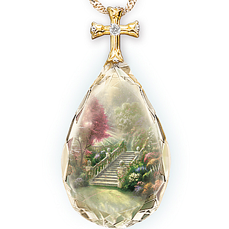 Photo of Thomas Kinkade Stairway To Heaven Pendant Necklace by The Bradford Exchange Online
