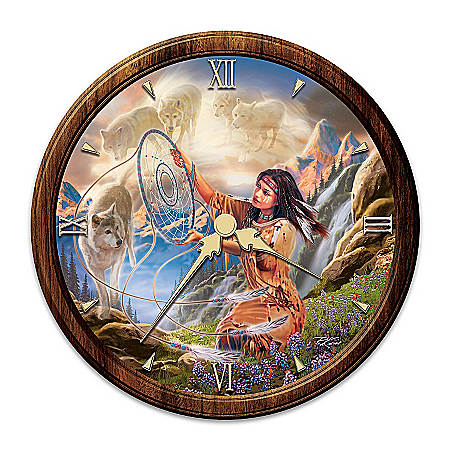 Photo of Native American-Inspired Stained Glass Wall Clock: Illuminating Spirits by The Bradford Exchange Online