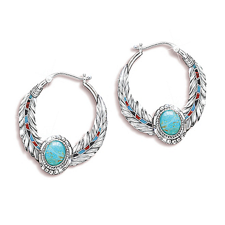 Photo of Sedona Sky Genuine Turquoise Cabochon Women's Hoop Earrings by The Bradford Exchange Online