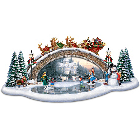 Photo of Thomas Kinkade Christmas Decor Bridge Sculpture: Light Up The Season by The Bradford Exchange Online