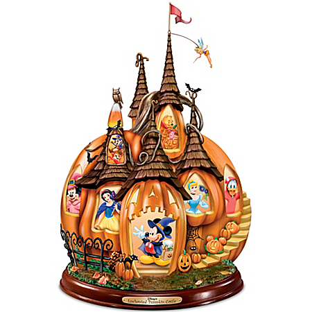 Image Disney's Enchanted Pumpkin Castle Halloween Sculpture with Light and Sound