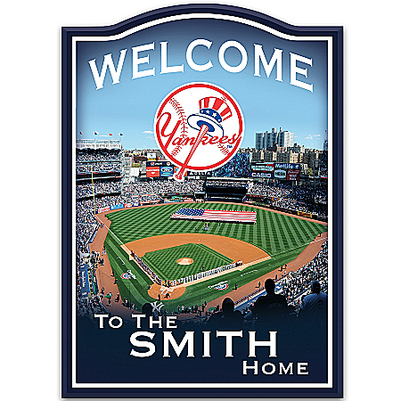 Photo of MLB New York Yankees Personalized Welcome Sign Wall Decor by The Bradford Exchange Online
