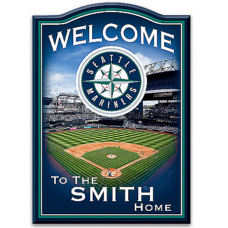 Photo of MLB-Licensed Seattle Mariners Personalized Wooden Welcome Sign Featuring Safeco Field by The Bradford Exchange Online