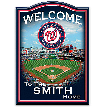 Photo of MLB-Licensed Washington Nationals Personalized Wooden Welcome Sign Featuring Nationals Park by The Bradford Exchange Online