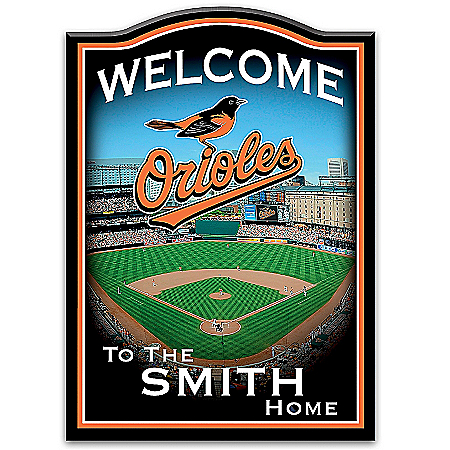 Photo of MLB-Licensed Baltimore Orioles Personalized Wooden Welcome Sign Featuring Oriole Park by The Bradford Exchange Online