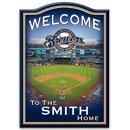 Photo of MLB-Licensed Milwaukee Brewers Personalized Wooden Welcome Sign Featuring Miller Park by The Bradford Exchange Online