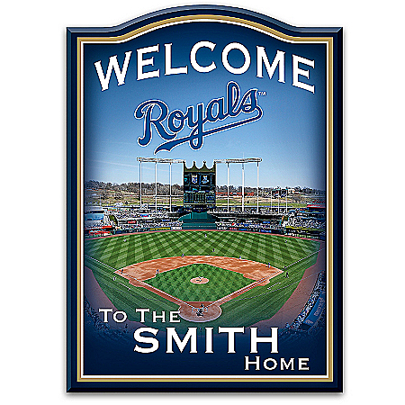 Photo of MLB-Licensed Kansas City Royals Personalized Wooden Welcome Sign Featuring Kauffman Stadium by The Bradford Exchange Online