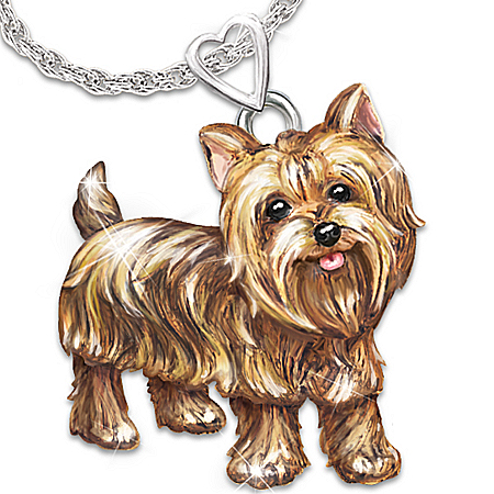 Photo of Dog Lovers Diamond Pendant Necklace: Playful Pup by The Bradford Exchange Online