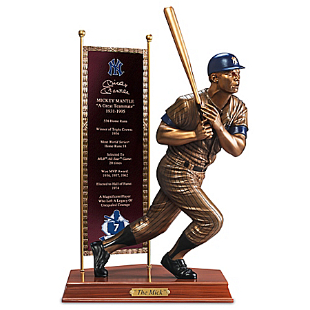 Photo of Hand-Painted MICKEY MANTLE Cold-Cast Bronze Sculpture by The Bradford Exchange Online