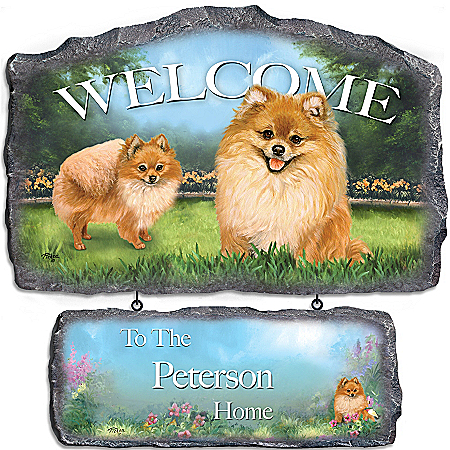 Photo of Lovable Pomeranians Personalized Welcome Sign Wall Decor by The Bradford Exchange Online