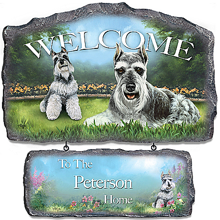 Photo of Lovable Schnauzers Personalized Welcome Sign Wall Decor by The Bradford Exchange Online