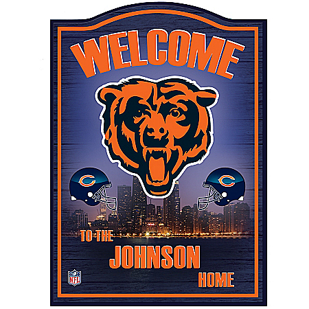 Photo of Chicago Bears Wooden Personalized Welcome Sign Wall Decor by The Bradford Exchange Online